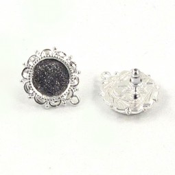 Ornate Earring Post Bezel SS